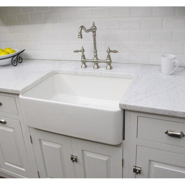 Somette Fireclay Sutton 23 25 inch White Farmhouse Kitchen Sink Overstock S