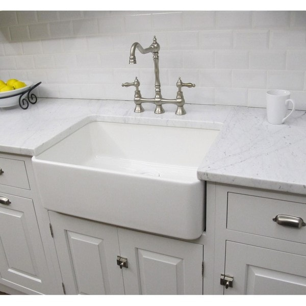 Somette Fireclay Sutton 23 25 inch White Farmhouse Kitchen Sink