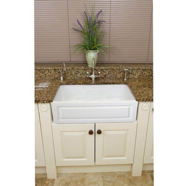 Fireclay French 29-inch White Farmhouse Kitchen Sink