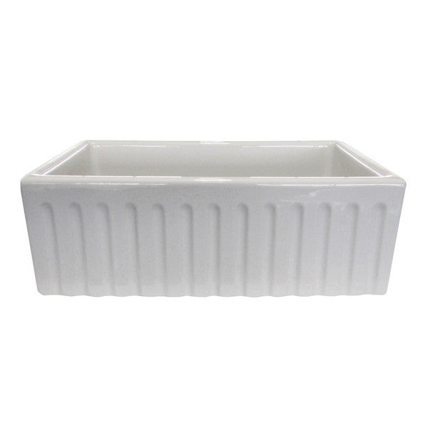 White Apron Sink : Somette Fireclay Fluted Apron 29-inch White Farmhouse KitchenSink ...