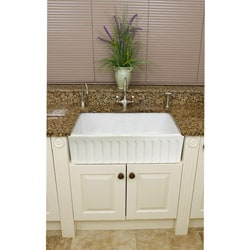 Fireclay Fluted Apron 29-inch White Farmhouse KitchenSink