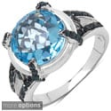 Malaika Silver Topaz and 1/3ct TDW Blue Diamond Ring