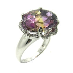 10k Gold Blend Ametrine 1/6ct TDW Diamond Ring (H-I, I1-I2)