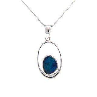 Pearlz Ocean Blue Boulder Opal Pendant Necklace