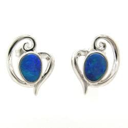 Pearlz Ocean Sterling Silver Blue Boulder Opal Stud Earrings