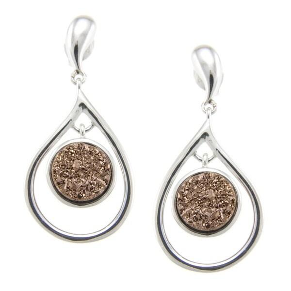 Pearlz Ocean Druzy Dangle Earrings
