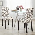 Parson Cream and Black Rubber Wood Dining Chairs (Set of 2)