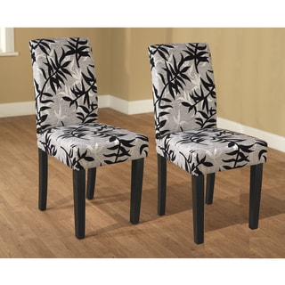 Parson Black and Silver Rubber Wood Dining Chairs (Set of 2)