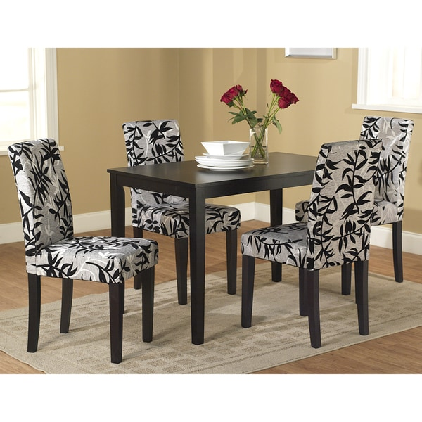 Simple living parson black and silver 5 piece dining table for Living room chair and table set