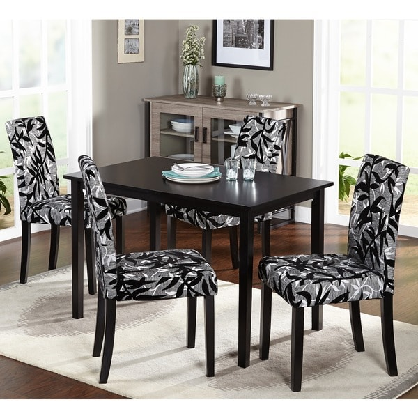 Simple Living Parson Black and Silver 5-Piece Dining Table and Chairs Set