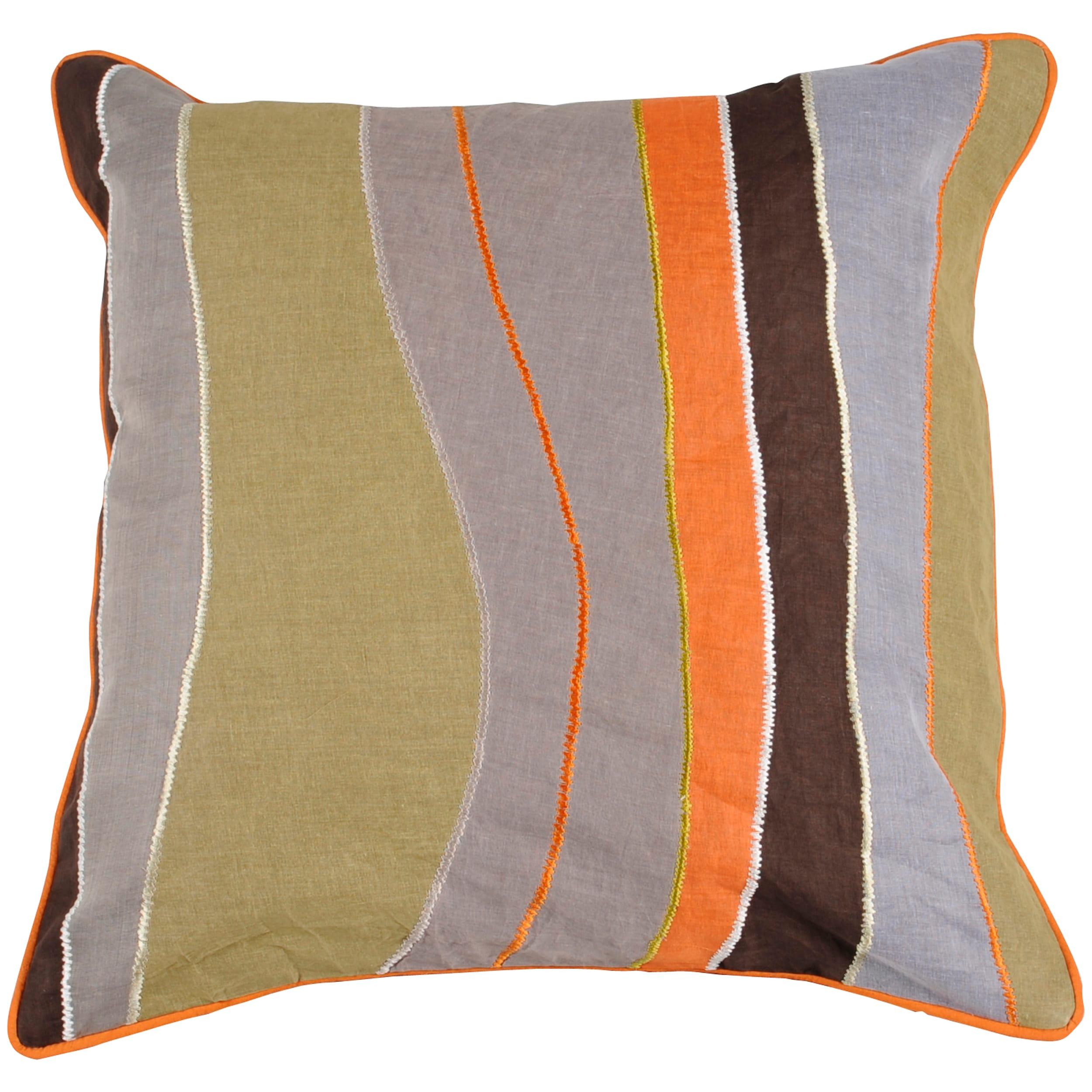 Pate Brown/ Sage/ Grey Stripe 18-inch Square Down Decorative Pillow