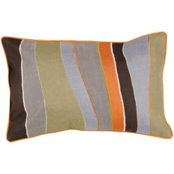 Pate Brown/Sage/Grey Stripe 13-inch x 20-inch Rectangle Decorative Pillow