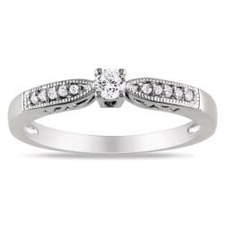Miadora Sterling Silver 1/6ct TDW Round Diamond Ring (H-I, I2-I3)