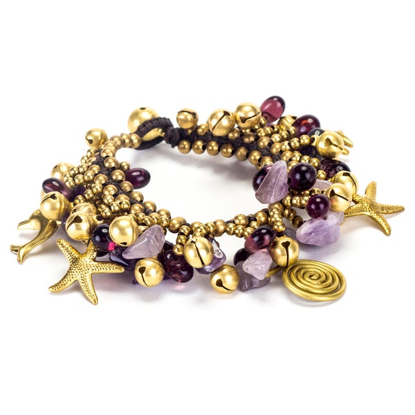 Goldtone Amethyst and Brass Bead Bracelet (Thailand)