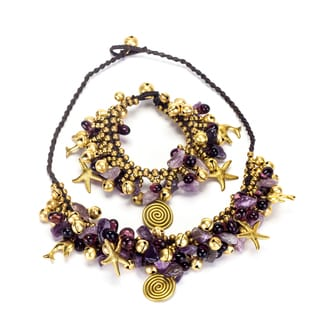Goldtone Amethyst and Bead Necklace and Bracelet Set (Thailand)