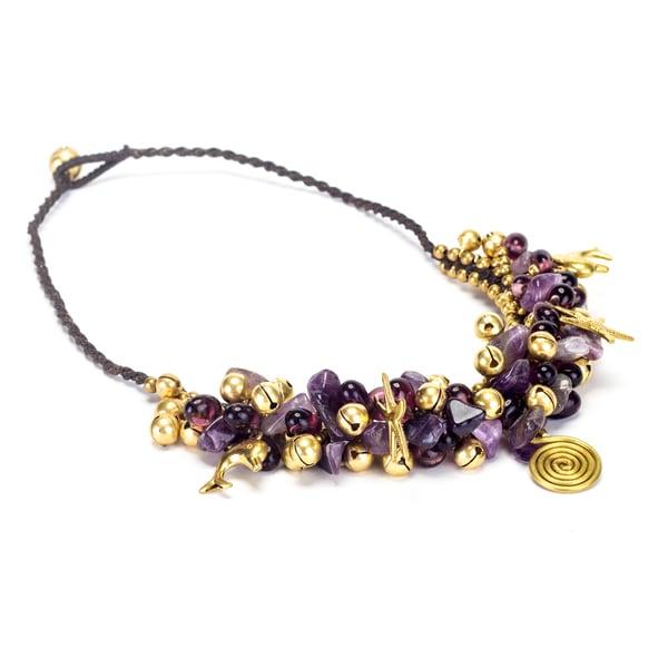 Goldtone Amethyst Bead Necklace (Thailand)