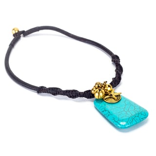 Goldtone Turquoise and Bead Cord Necklace (Thailand)