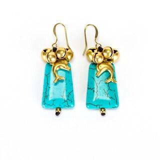 Goldtone Turqouise Bead Earrings (Thailand)