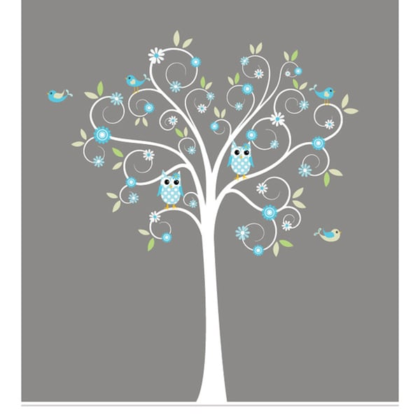 Nursery wall art boy 39 s curls branch tree owls and birds for Bird and owl tree wall mural set