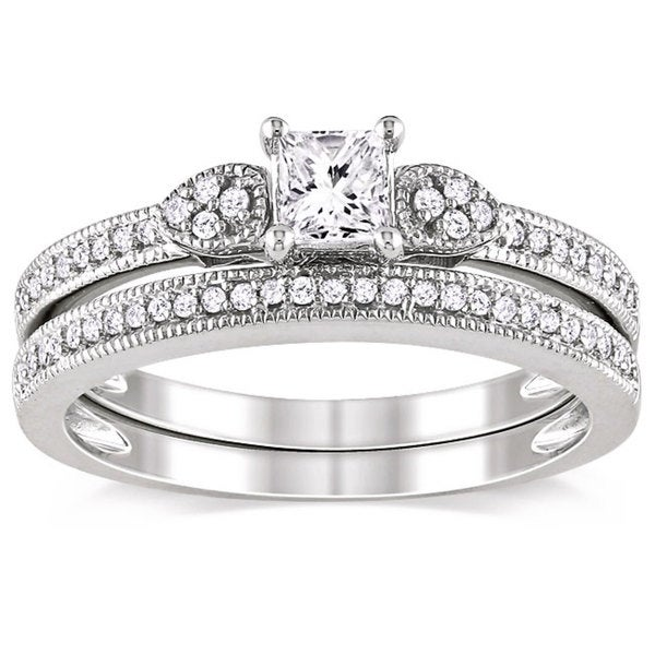 Miadora 10k White Gold 1/2ct TDW Diamond Ring Set (G-H, I1-I2)