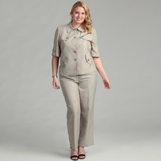 Emily Women's Plus Four-button Pant Suit