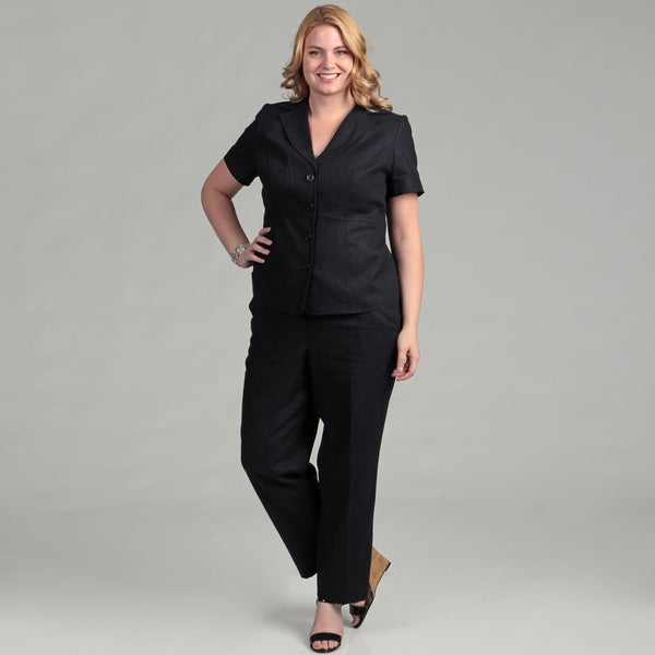 Emily Women's Plus Navy 4-button Jacket Pant Suit