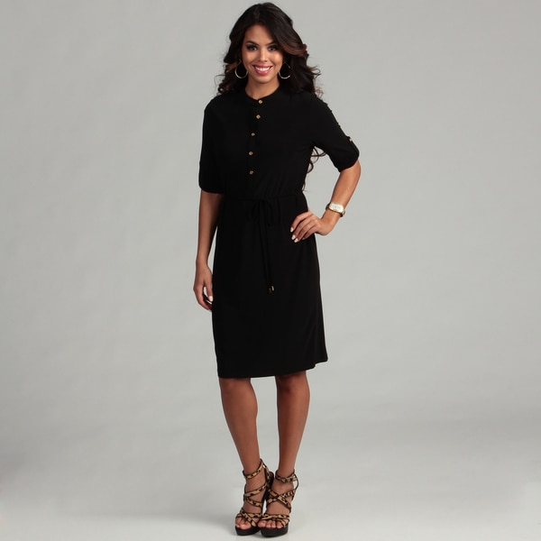 Calvin Klein Women's Black Roll Sleeve Dress