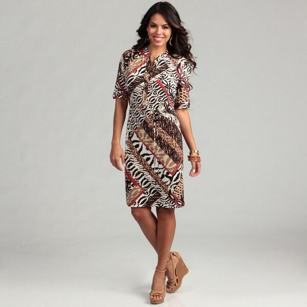 Calvin Klein Women's Roll Sleeve Patchwork Dress