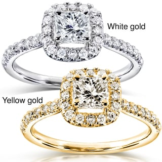 14k Gold 3/4ct TDW Diamond Halo Engagement Ring
