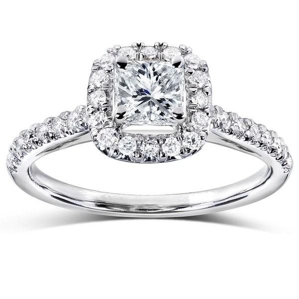 Annello 14k Gold 3/4ct TDW Princess and Round Halo Diamond Engagement Ring (H-I, I1-I2)