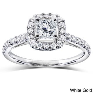 Annello 14k Gold 3/4ct TDW Princess and Round Halo Diamond Engagement Ring (H-I, I1-I2)