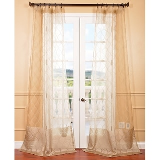 Signature Palazzo Gold 108-inch Banded Sheer Curtains
