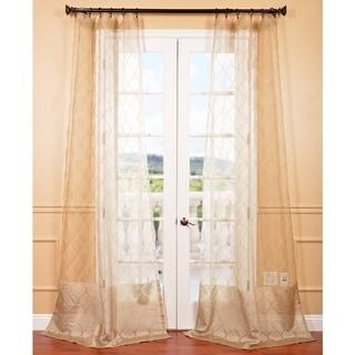 Signature Palazzo Gold 108-inch Banded Sheer Curtains