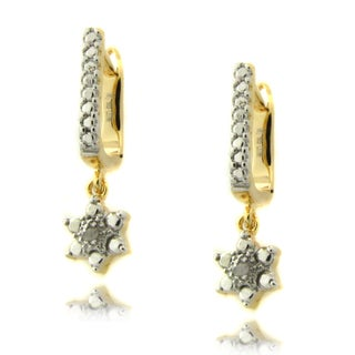 Finesque Gold over Silver Diamond Accent Flower Dangle Earrings