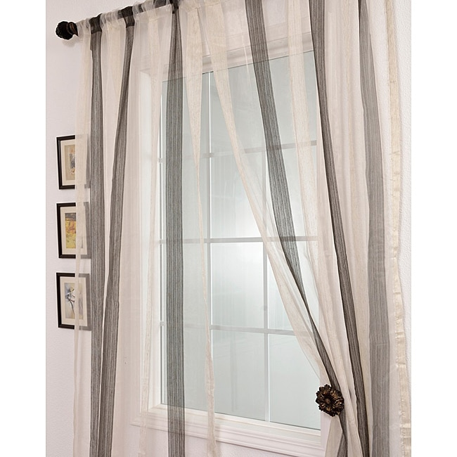 EFF Signature Havannah Ash 96-inch Striped Linen and Voile Weaved Sheer Curtain