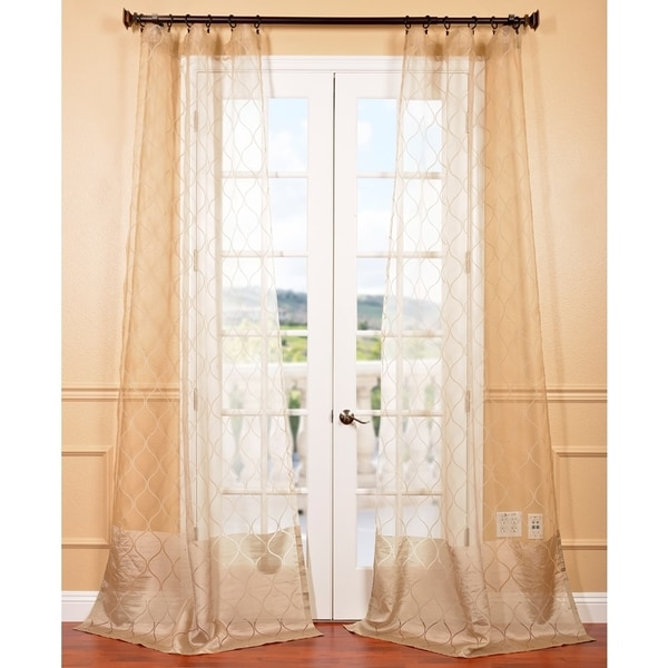 Exclusive Fabrics Signature Palazzo Gold 84-inch Banded Sheer Curtain Panel