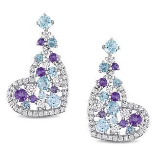 Miadora Sterling Silver Topaz and Amethyst Heart Earrings