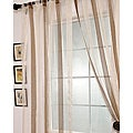 Signature Havannah Cocoa 96-inch Striped Linen and Voile Weaved Sheer Curtain