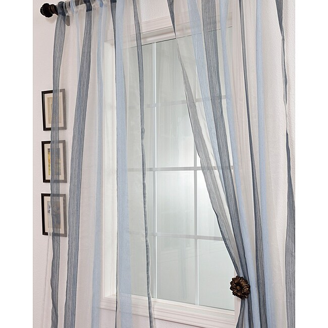 Signature Havannah Blue 96-inch Striped Linen and Voile Weaved Sheer Curtain