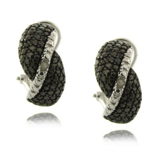Finesque Sterling Silver Black and White Diamond Accent Twist Earrings