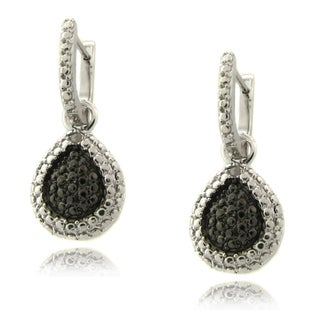 Finesque Sterling Silver Diamond Accent Black and White Teardrop Earrings