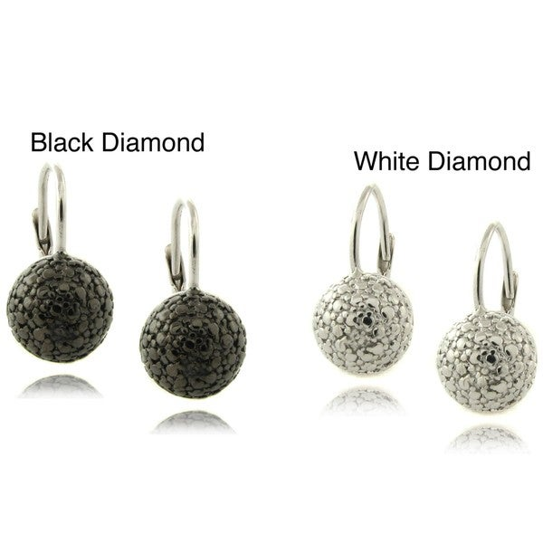 Finesque Sterling Silver Diamond Accent Ball Earrings