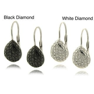 Finesque Sterling Silver Diamond Accent Teardrop Earrings