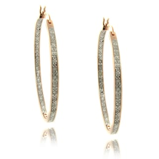 Finesque Rose Gold Overlay 1/4ct TDW Diamond Hoop Earrings (I-J, I2-I3)