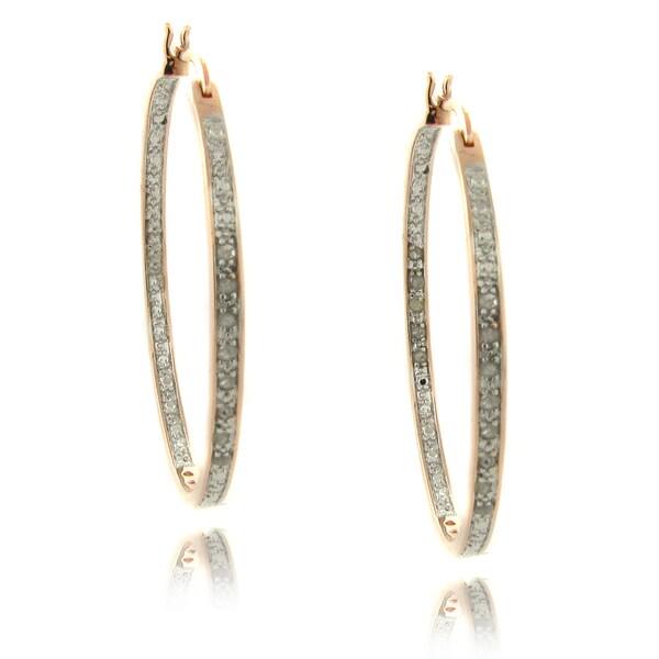 Finesque Rose 14k Gold Overlay 1/4ct TDW Diamond Hoop Earrings (I-J, I2-I3)