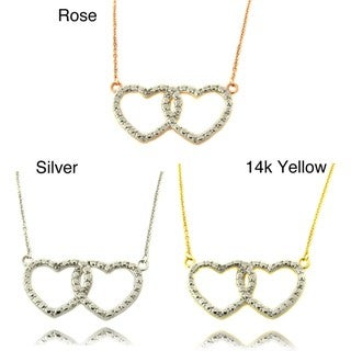 Finesque Diamond Accent Double Heart Necklace