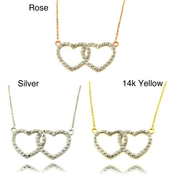 Finesque Diamond Accent Double Heart Necklace