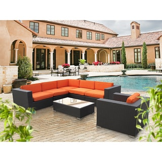 Corona Outdoor Patio Espresso and Orange 7-Piece Sectional Sofa Set