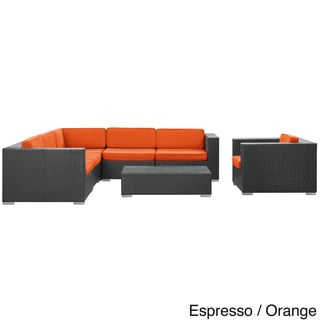 Corona Outdoor Patio Espresso 7-Piece Sectional Sofa Set
