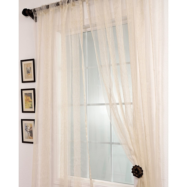 Signature Havannah Natural 84-inch Striped Linen and Voile Weaved Sheer Curtain